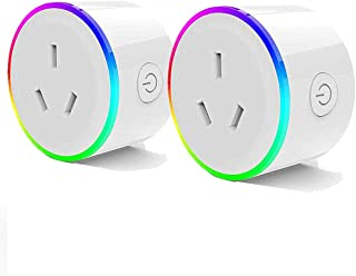 WiFi Smart Plug with RGB Light, Compatible with Amazon Alexa, Google Home Assistant, No Hub Needed, App Remote Control, Ti...