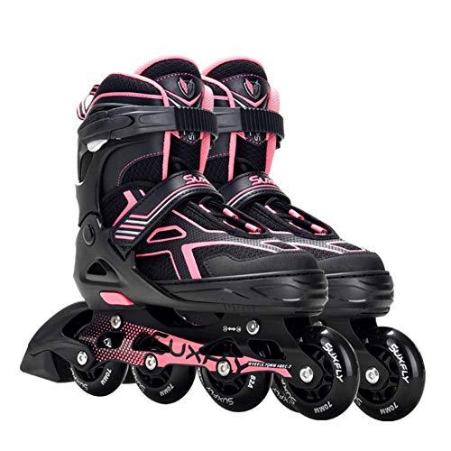 Herren Damen Inliner Inlineskates | Einstellbare | Beleuchtende Inline-Skates Mit Leuchtenden Rädern | ABEC-7 Chrome Kugellager | Für Kinder Und Erwachsene Für Mädchen Und Jungen,Rosa,L (38 ~ 42)