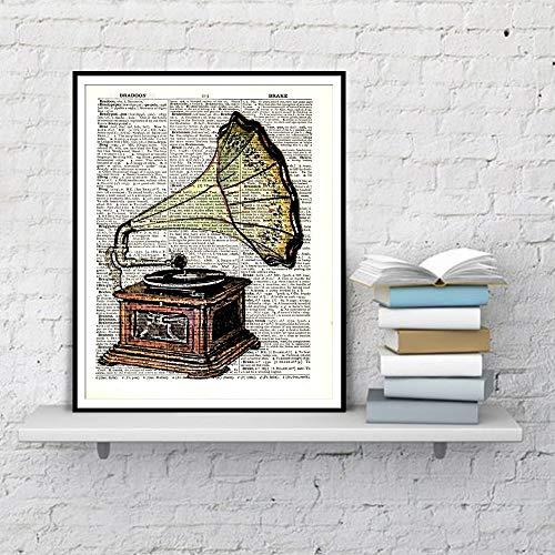 Grammofoon muurschildering poster en prints woordenboek aquarel kunst wooncultuur canvas kunst woonkamer canvas schilderwerk frameloos schilderwerk
