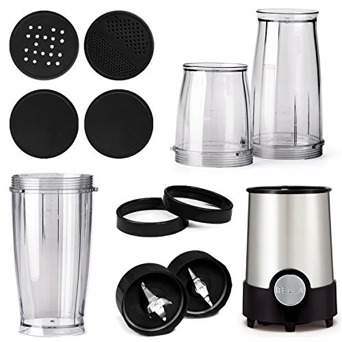 BELLA (13586) Personal Size Rocket Blender, 12 Piece Set, Stainless Steel/Black