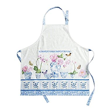 Maison d' Hermine Canton 100% Cotton Apron with an adjustable neck & hidden center pocket 27.50 Inch by 31.50 Inch