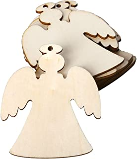 Amosfun 10PCS Wooden Ornaments Unfinished Christmas Wood Ornaments Angel Hanging Embellishments Crafts for DIY Crafts Party Home Decor with Hemp Rope