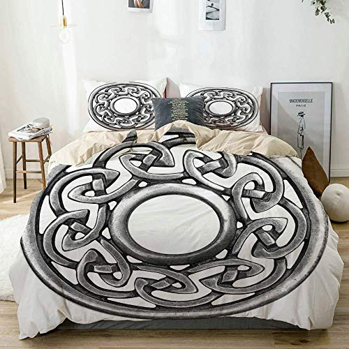 Duvet Cover Set Beige,Royal Style Circular Celtic Pattern Graphic Print Metal Brooch Design Scottish Shield,Decorative 3 Piece Bedding Set with 2 Pillow Shams Easy Care Anti-Allergic Soft Sm