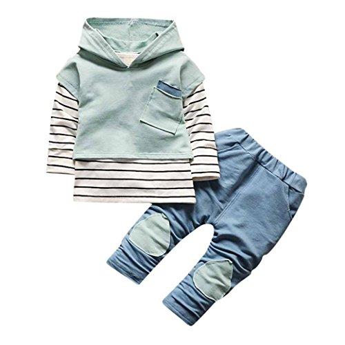 Longra 3PCS Bébé Garçon Filles Enfants T-Shirt Rayé Sweats à Capuche Haut Tops+Pantalons Long Vêtements Ensemble 1-3 Ans Enfant Ensembles Pantalons et Haut Mode Vêtements Bébé Originaux (12M, Vert)
