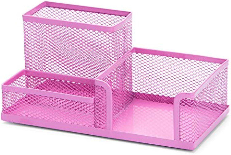 Rack high School Student Fashion Portable Round Pen Holder Transparent Large Capacity Table Storage Basket Storage (color   Pink)