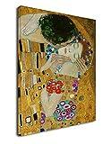 Cuadro Klimt El Beso 2 (Amantes) - Gustav Klimt The Kiss (Lovers) Marco Lona de la Lona (Cuadro con Marco DE Madera, CM 50X70)