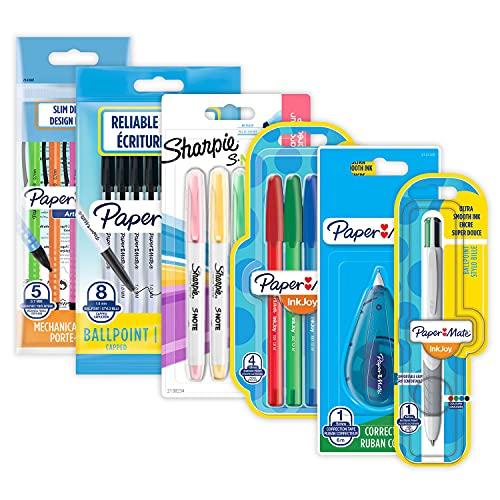 Zestaw długopisów papierowych i Sharpie | artykuły pa | długopisy, zakreślacze, ołówki mechaniczne i taśma korekcyjna | Idealny do szkoły i biura | 23 szt