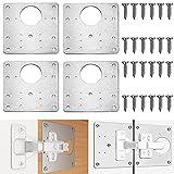 Gloryit 4 piezas placa reparación bisagras Soportes de reparación de bisagras acero inoxidable incluye placas y tornillos de fijación, para gabinete muebles puerta placa reparación bisagras armarios