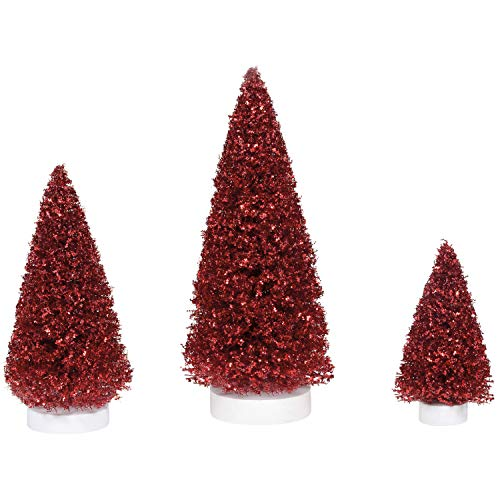 Department 56 Village Collection Accessories Ruby Christmas Pine Trees Figurine Set, Various Sizes, Multicolor
