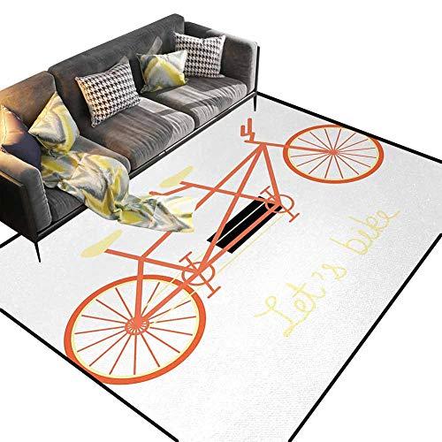 JiuYIBB Alfombra de área colorida, bicicleta, letras a mano para bicicleta y vehículo retro, para verano, coral negro y amarillo pálido para comedor, hogar, dormitorio, 6.5 x 9.8 pies