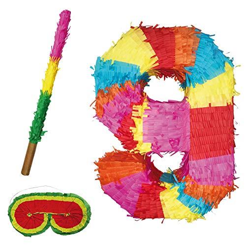 Party Factory Pinata Zahlen Set 0-9 + Stab + Augenmaske Kinder Geburtstag Schlag-Pinata 50 x 35 x 8cm Dekoration Geburtstagsdeko (9)