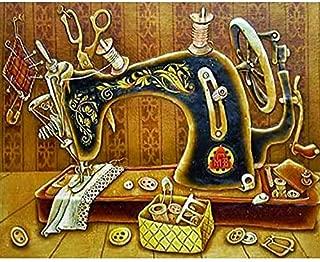 Diy 5D Diamond Painting Kit, Round Diamond Rhinestone Black Sewing Machine?Art Craft for Canvas Wall Decor, 11.8X17.7 Inch(Frameless)