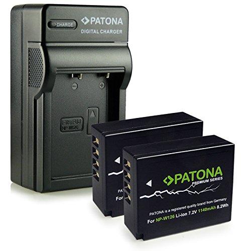PATONA 4in1 Cargador + 2x Premium Bateria NP-W126 compatible con Fuji FinePix X-Pro1 X-Pro2 HS30EXR HS33EXR HS50EXR