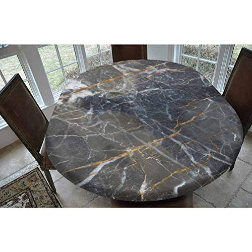 Marble Polyester Fitted Tablecloth,Abstract Medieval Style Architecture Ceramic Textured Artsy Facet Design Decorative Oblong Elastic Edge Fitted Table Cover,Fits Oval Tables 68x48' Charcoal Grey Ging