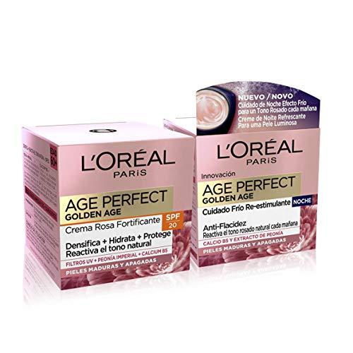 LOréal Paris Age Perfect Golden Age Set de Crema de Día Rosa con Protección Solar SPF 20 y Crema de Noche Fortificante, Antiarrugas y Luminosidad, Pieles Maduras y Apagadas, 50 ml cada una