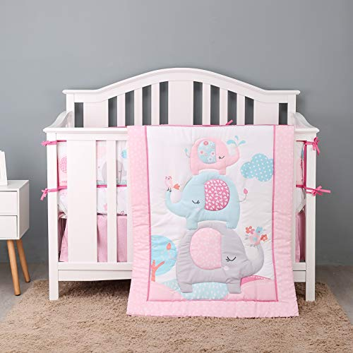 USTIDE Nursery Cot Bedding Set 7-Piece Elephants Baby Toddler Girls Crib Bedding with Bumper, Fitted Sheet and Bed Skirt Kindergarten Decorations