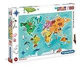 Clementoni- Supercolor Collection-Planisphère animalier-180 pièces- 29753