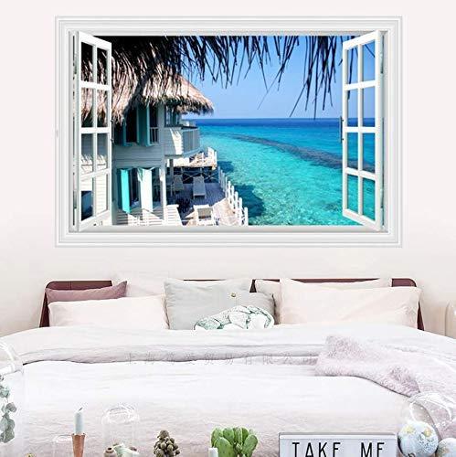 Gefälschte Fenster Mediterrane Landschaft Wandaufkleber Pvc Material Strand Meerblick Wohnzimmer Schlafzimmer Dekoration Wandbild Poster 90X60 Cm