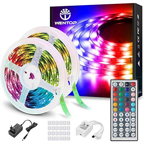 WenTop Led Strip 20m, RGB LED Band 600 LEDs, SMD 5050 Selbstklebend LED Streifen mit Fernbedienung, für Schlafzimmer, Decke, Party, Festival, Dekorative Und Beleuchtung (2 X 10m)