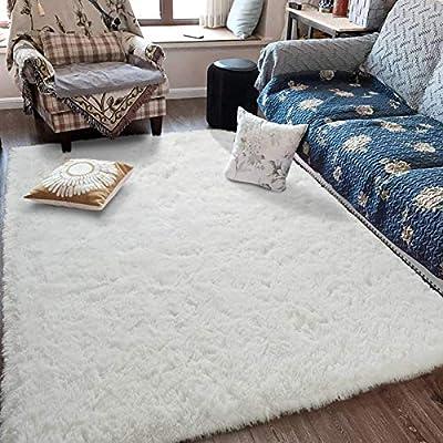 Fluffy Soft Kids Room Rug Baby Nursery Decor, Anti-Skid Large Fuzzy Shag Fur Area Rugs, Modern Indoor Home Living Room Floor Carpet for Children Boys Girls Bedroom Rugs, Cream White 4 x 6 Feet