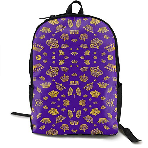 hengshiqi Rucksack Schultasche,Backpack, Royal Crowns - Gold On Purple Classic Backpack - Black