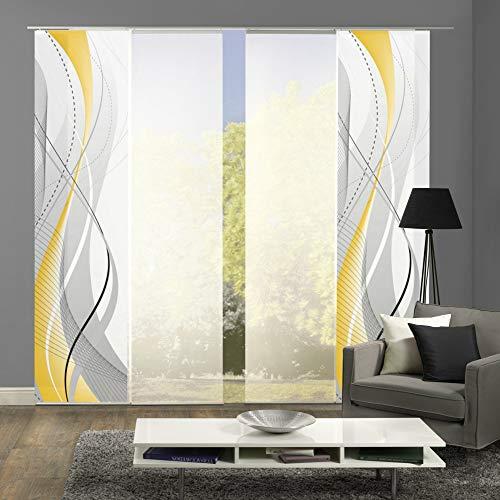 wohnfuehlidee 4er-Set Schiebegardine WuXi, Blickdicht, Höhe 245 cm, gelb