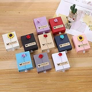ZhenPony 10-Piece 10 Color Jewelry Gift Box Set - Jewelry Gift Boxes Small Kraft Paper Boxes Box - 3.54 x 1.97 x 3 Inches Empty Jewelry Gift Box Empty Jewelry Gift Boxes