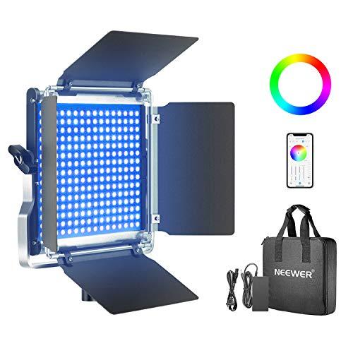Neewer 530 RGB Luz LED con Control Aplicación, 528 SMD LED CRI95/3200K-5600K/Brillo 0-100%/0-360 Colores Ajustables/11 Escenas Aplicables con Pantalla LCD/Soporte en U/Barndoor, Carcasa Metal