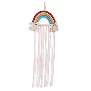 NICROLANDEE Rainbow Tassels Hair Bows Holder Hanging - Baby Hair Accessories Storage Headband Holder Hair Clips Organizer Wall Hanger Decor for Baby Girls Room Ornament (Orange Yellow)