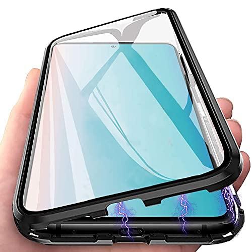 Hikissny Hülle für Xiaomi Poco F3 Magnetabdeckung, Metallstoßstange Transparent Vorder und Rückseite Gehärtetes Glas + Kameraobjektivschutz 360° Ganzkörperschutz Flip Cover, Schwarz