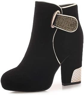 BalaMasa Womens Buckle High-Heel Penny-Loafer Urethane Boots ABM13621