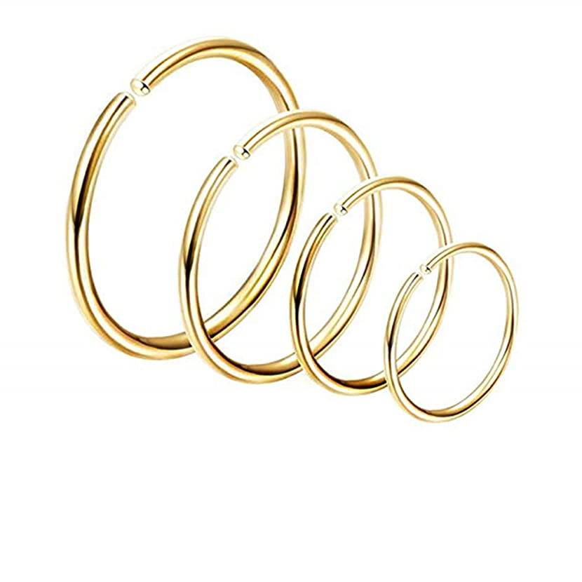 Myhouse Stainless Steel Hoop Earrings Cuff Helix Cartilage Clip Endless Round Earrings Hoop for Women, Gold Color