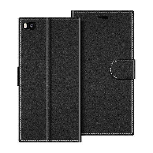 COODIO Handyhülle für Huawei P8 Handy Hülle, Huawei P8 Hülle Leder Handytasche für Huawei P8 Klapphülle Tasche, Schwarz