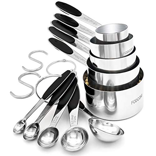 Kitchen Measuring Cups and Spoons Set of 12, FODCOKI Real 18/8 Stainless Steel Measuring Spoons and Cups with Silicone Handle, for Dry & Liquid Ingredients, Black