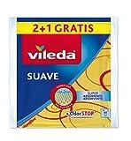 Vileda - Set de 2 Bayetas suaves 30% microfibras + 1 gratis, color amarillo, 35 x 40 cm, 3 unidades...