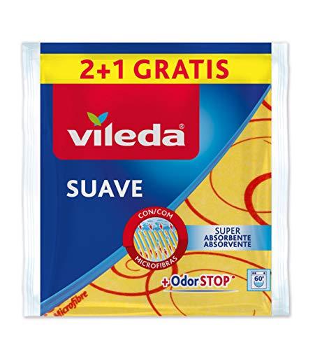 Vileda - Set de 2 Bayetas suaves 30% microfibras + 1 gratis, color amarillo, 35 x 40 cm, 3 unidades string