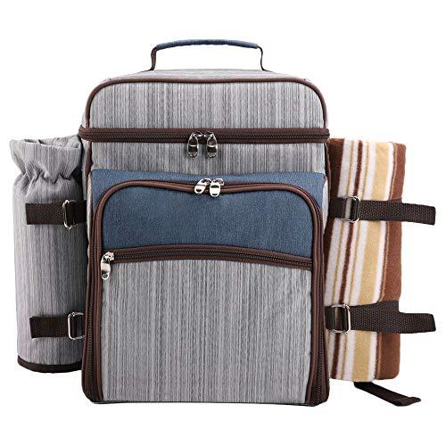 Arkmiido Picknick Rucksack für 4 Personen, Picknick Rucksack Hamper Kühltasche mit Geschirr Set & Decke (Grau)