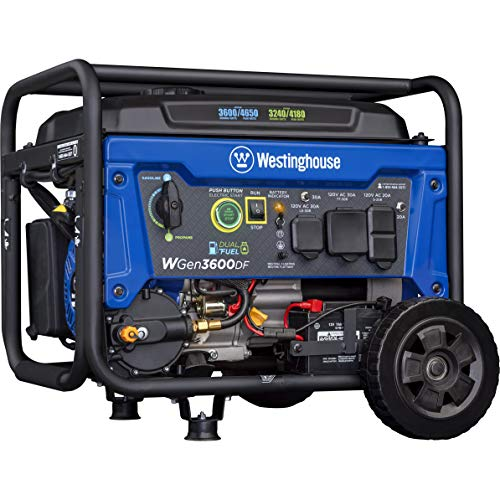 Westinghouse Outdoor Power Equipment WGen3600DF Dual Fuel (Gas and Propane) Electric Start Portable Generator 3600 Rated 4650 Peak Watts, RV Ready, CARB Compliant