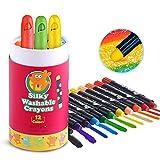 Jar Melo. Ceras de Seda Lavables 3 en 1 (cera, pastel y acuarela). No tóxico, tintes vegetales. crayones para niños. 12 Colores