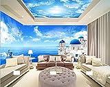 BIZHI Blauer Himmel und weiße Schlafzimmer Wohnzimmer Decke Decke Tapete Hotel Restaurant 3D Wallpaper große Wandbilder Decke, B