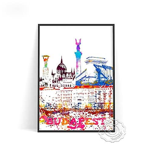 lubenwei World City Posters London Las Vegas Wien Koln Praha Wall Art Decor Stockholm Budapest Venezia Sydeny Wall Stickers (AU-945) 50x70cm No frame