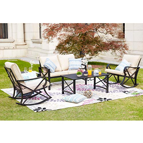 LOKATSE HOME 5Pcs Patio Furniture Conversation Bistro Sets Loveseat and 2 Coffee Table, 5 pcs Chair, Khaki