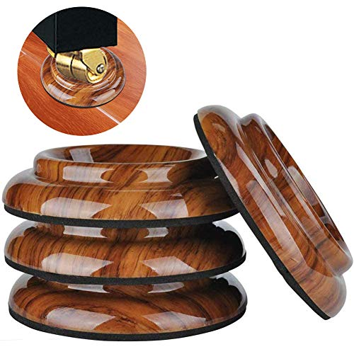 Upright Piano Caster Cups,4 Pack Premium Quality Plastic Piano Caster Pads Furniture Leg Pad w/EVA Anti-Slip & Anti-Noise Foam Mat for Hardwood Floor Protectors (Rose Wood Grain ABS Plastic)