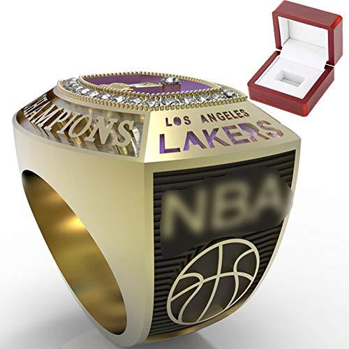 SUFEN Anillo De Campeonato De Los Lakers, 2020 Lakers Anillo De Campeonato Regalo De Ventilador Tamaño 9-11# Fan Souvenirs Movimiento De Baloncesto Anillo con Caja 10