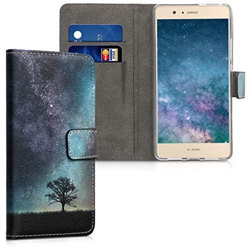 kwmobile Custodia Compatibile con Huawei P9 Lite - Cover Magnetica Portafoglio con Stand in Simil Pelle - Custodia Case Porta Carte - Natura e Spazio Blu/Grigio/Nero