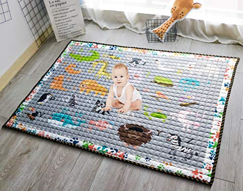 Moiré Baby A to Z Animal Learning Play Mat Extra Large 76 in x 58 Padded Crawling Carpet for Babies A to Z Animal