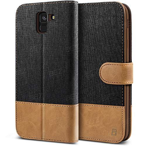 BEZ Handyhülle für Samsung J6 2018 Hülle, Tasche Kompatibel für Samsung Galaxy J6 2018, Handytasche Schutzhülle [Stoff & PU Leder] mit Kreditkartenhalter, Schwarz