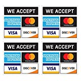 Credit Card Stickers - Visa, MasterCard, Amex and Discover, Vinyl Decals, UV Protected & Waterproof, 4 X 3.7 Inch - 4 Labels