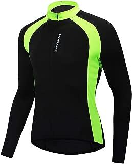 WOSAWE Men's Lightweight Long Sleeve Cycling Jersey Breathable Full Zip Bike Shirts