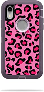 MightySkins Skin Compatible with OtterBox Defender iPhone XR Case - Pink Leopard | Protective, Durable, and Unique Vinyl Decal wrap Cover | Easy to Apply, Remove, and Change Styles | Made in The USA